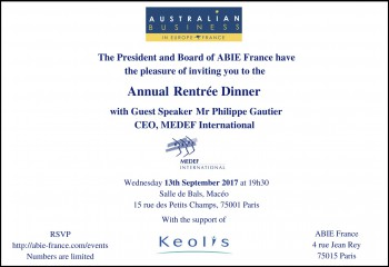 ABIE  Rentrée Dinner September 13th 2017