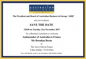 Business Luncheon to Welcome Ambassador of Australia to France, Mr Brendan Berne