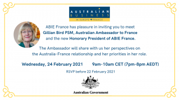 ABIE France Webinar with Gillian Bird PSM, Australian Ambassador to France and Honorary President of ABIE France